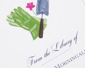 BOOKPLATES with Garden motif, personalized - set of 24