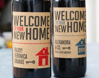 Real Esate Agent Closing Gift,Client Gift, New Home Gift , Real Estate Wine Label with or Without Year