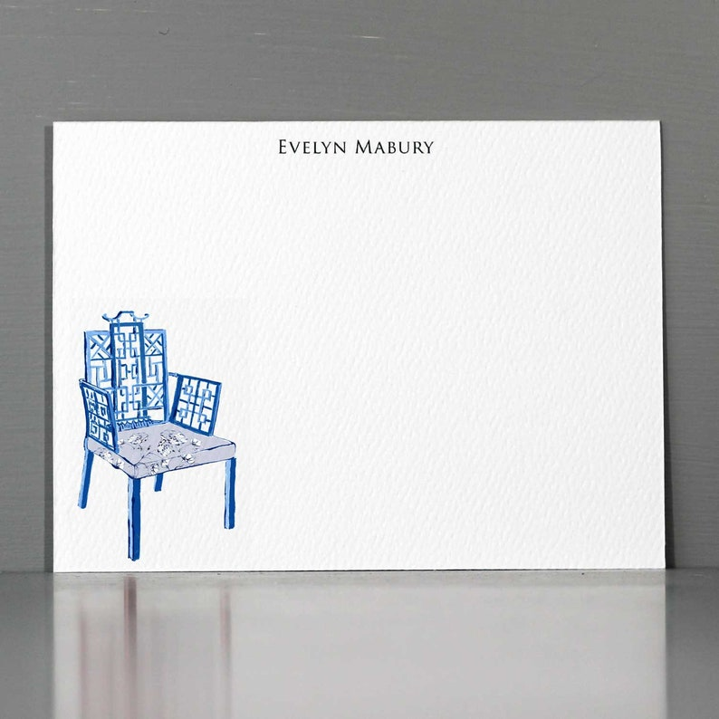 Blue and White Chinoiserie StationeryBlue White Chair image 0