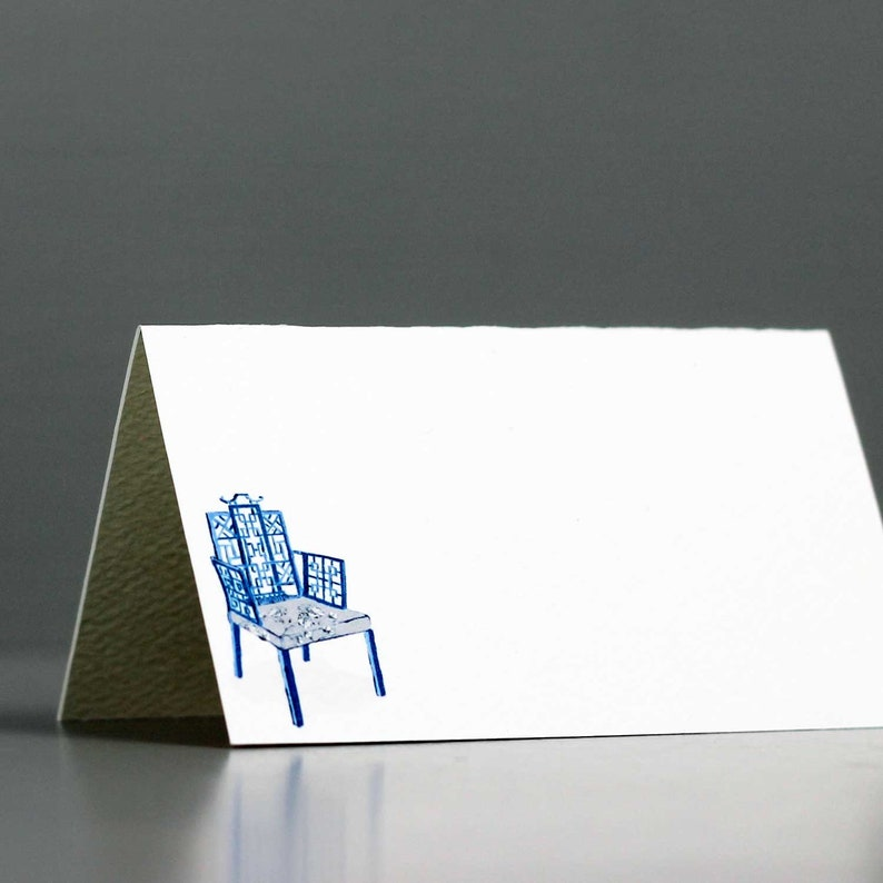Place Cards with Blue and White Chinoiserie Chair Chinoiserie image 0