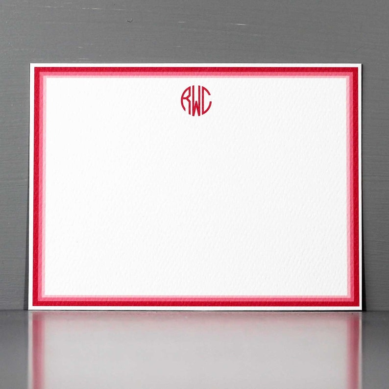 Hot Pink Circle Monogram Note Cards Personalized Stationery image 0