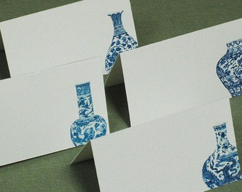 PLACE CARDS CHINOISERIE Ming Vase Blue and White set of 12