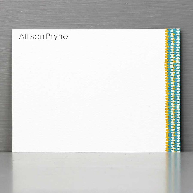 Personalized Flat Notes with Scallop PatternModern Stationery image 0