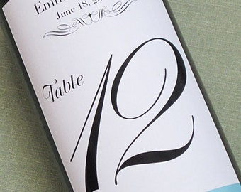 Wedding Wine Bottle Table Numbers, Contemporary Classic, Set of 12