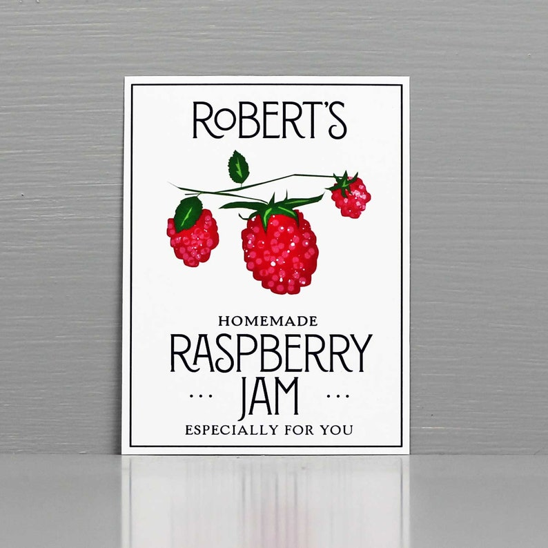 Personalized Raspberry Preserve LabelsPersonalized Jam Labels image 0