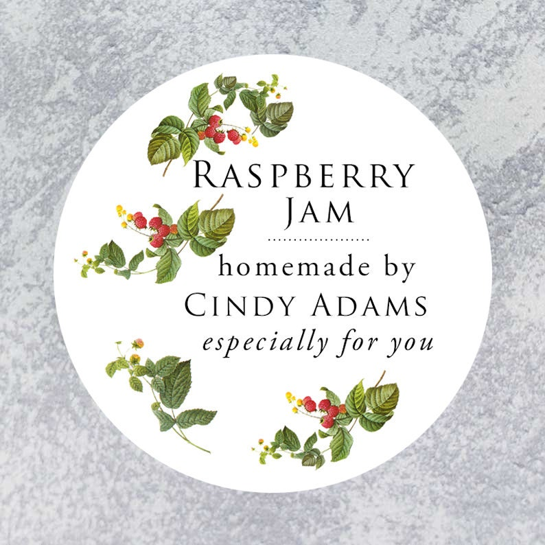 Personalized Classic Raspberry Circle Label Regular or Wide image 0