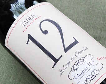 Wedding Table Number Wine Label with whimsical french design set of 12