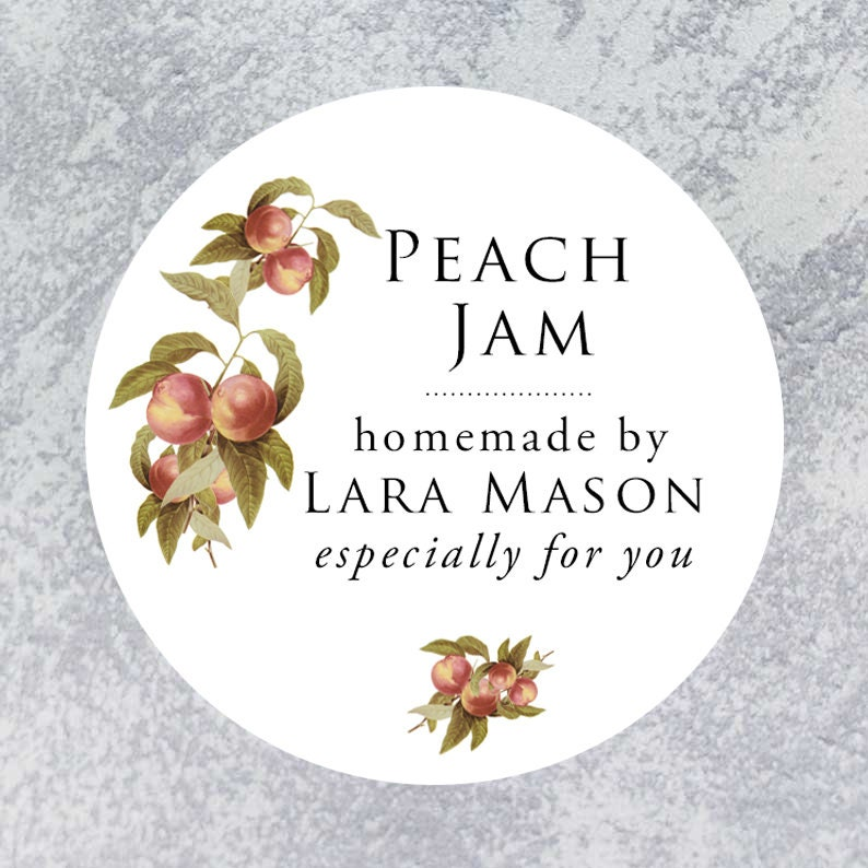 Personalized Classic Peach Circle Label Regular or Wide image 0