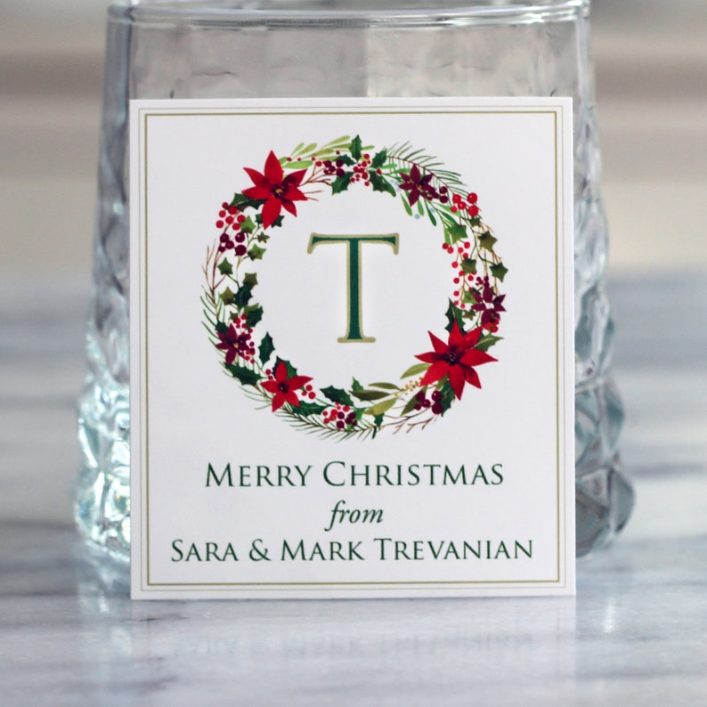 Monogram Personalized Christmas Label or Tag Wreath Labels image 0
