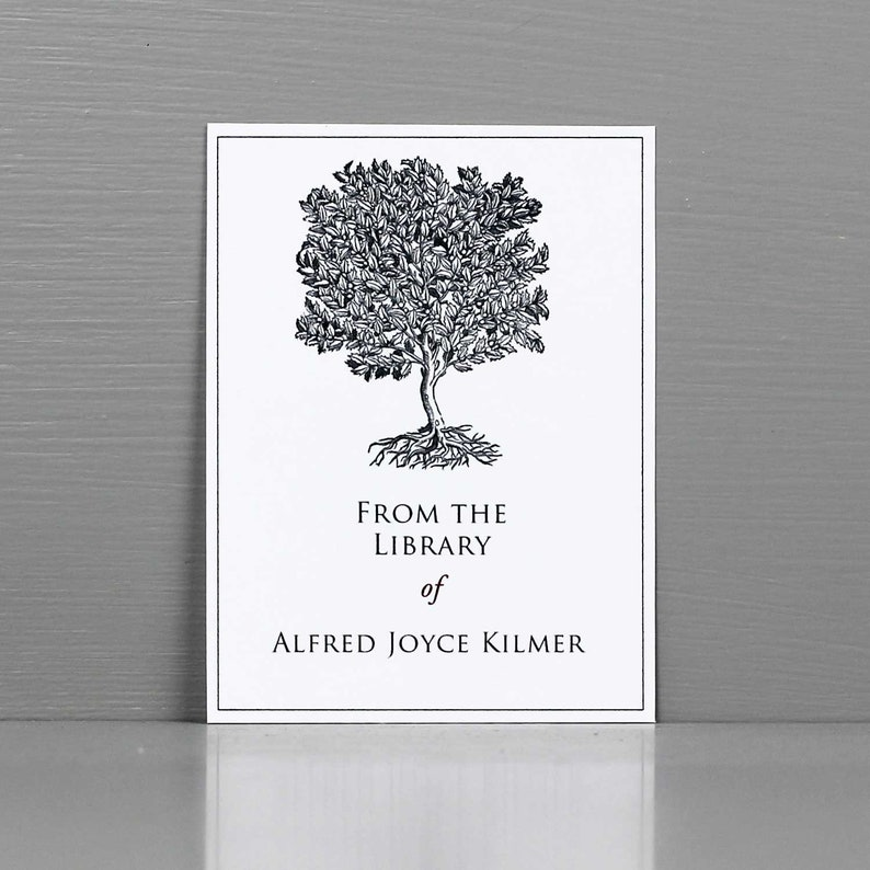 Classic Bookplate with Vintage Grey  Tree Illustration image 0
