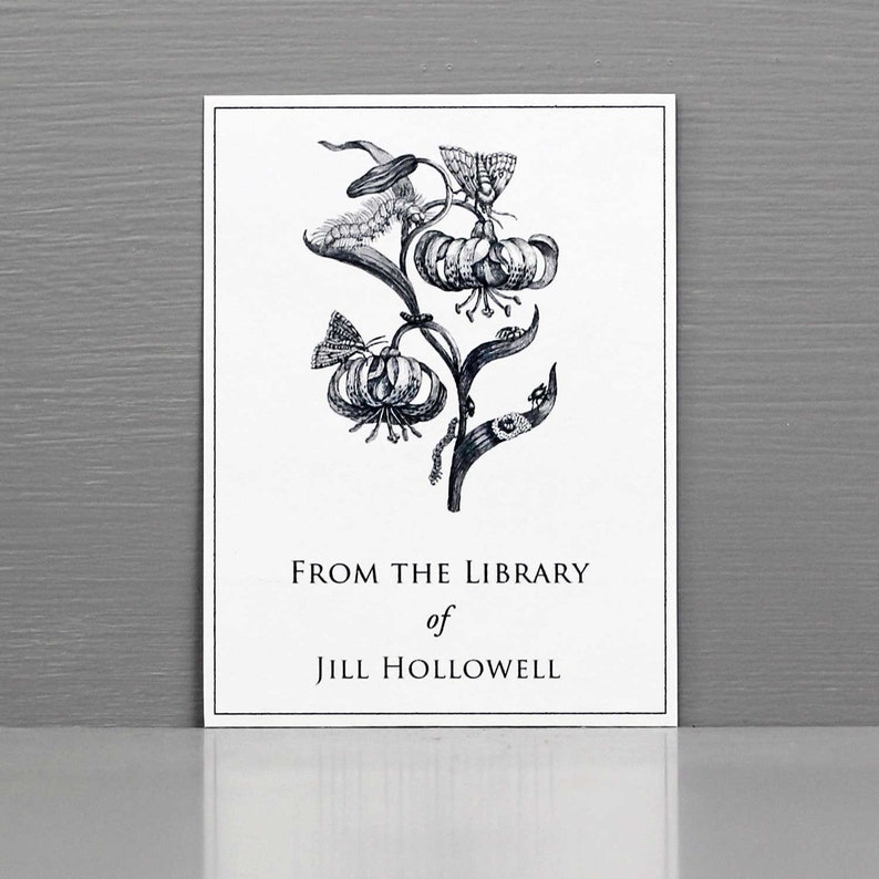 Personalized Bookplate with Black and White Botanical image 0
