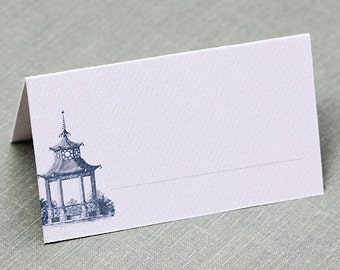 Pagoda Place Cards, Chinoiserie, Indigo or Magenta, set of 12