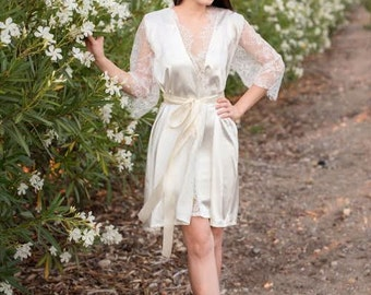 Silky Satin and Lace Robe-Light Ivory satin, off white alencon lace trim and lace sleeves