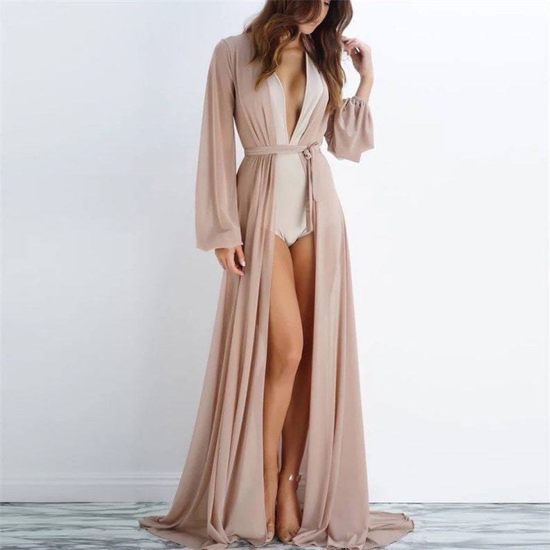 Paris Custom long robe with train chiffon robe longerie image 0