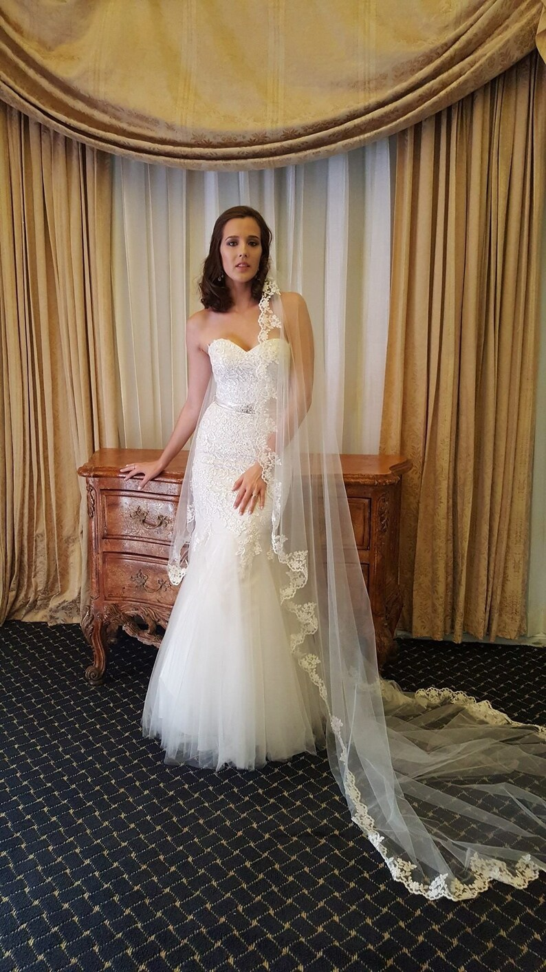 HIGH QUALITY Lace Mantilla veil Bridal Lace single layer 1 image 0