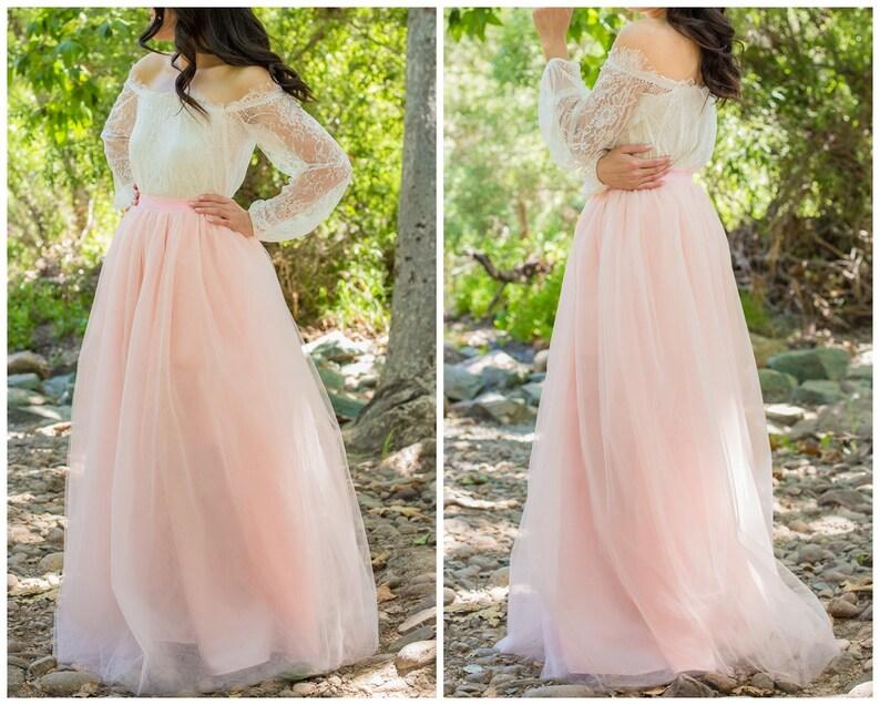 b06aded4ed Blush Pink Tulle Skirt Handmade tulle skirt Full Length | Etsy