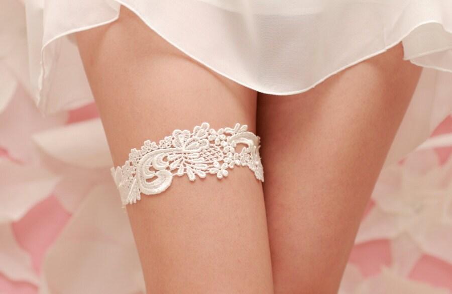 Wedding Garter Ivory Venise Lace Ivory Garter Belt Lace