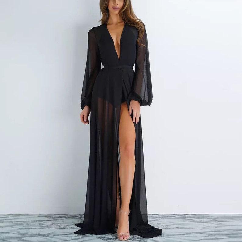 Jenn Custom long robe with train chiffon robe longerie image 0