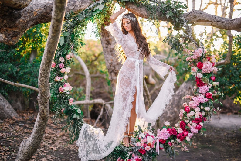 Extra Long Chantilly Lace Robe for Bride A must-have for image 0