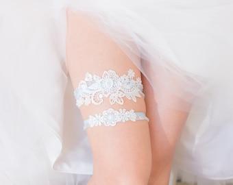 Something Blue - Wedding Garter Set, Wedding Garter, White Lace, Blue lace band, Bridal Shower Gift, Lingerie