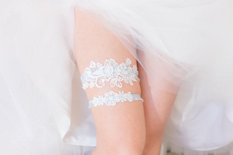 Something Blue  Wedding Garter Set Wedding Garter White image 0