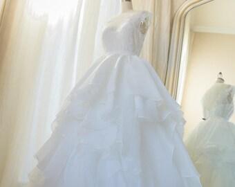Wedding Skirt, Couture Skirt Full Skirt, Ruffle Skirt - Bridal Skirt, Organza Horse Hair Trim, Ruffle Skirt, Wedding dress, Overlay, Ivory