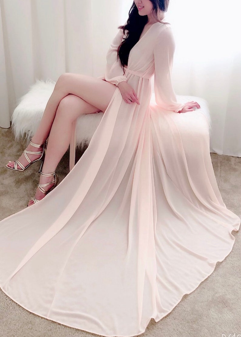 Paris Custom long robe with train chiffon robe longerie image 0