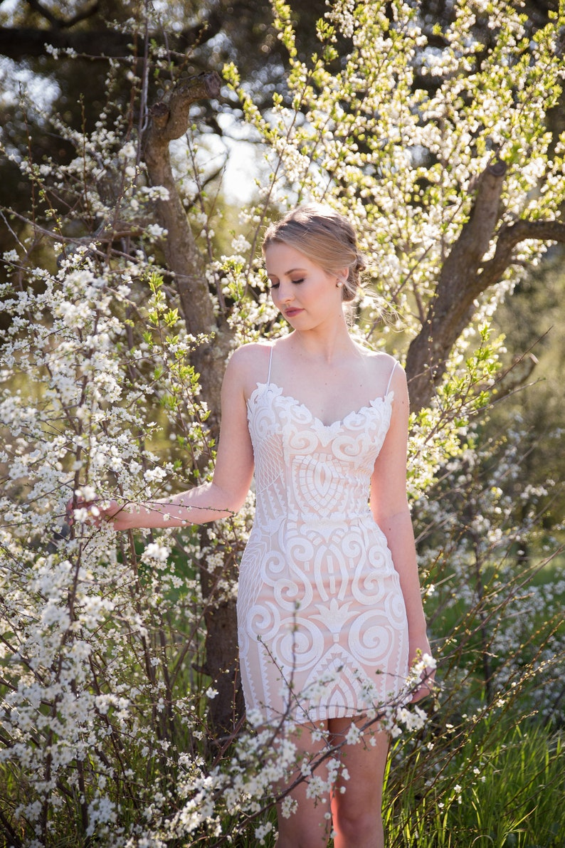 HIGH QUALITY Sequin Lace Form Fitting dress Blush   Bridal image 0