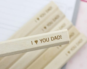 I love you dad 6 six engraved carpenter pencils. personalized father's day gift. gifts for dad. gifts for carpenter.