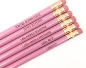Legally mean and clueless personalized engraved pencils in lavender pencil set of 6. school pencils, teacher pencils, office supplies