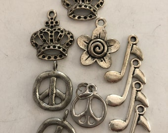 10 assorted charms crown, peace sign flower and music notes #11