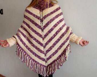 Knit Poncho Shawl Wrap Poncho Fringe Poncho High Neck Cape Shawl Throw Blanket Turtle Neck Hand Knitted Poncho Hippie Poncho Coat Winter