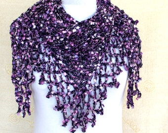 Hand Crochet Shawl-Scarf, Knitted Neck Warmer, Women's Knitwear, Crochet shawl scarf. crochet top wrap cover up, Knitting Purple Shawl Scarf