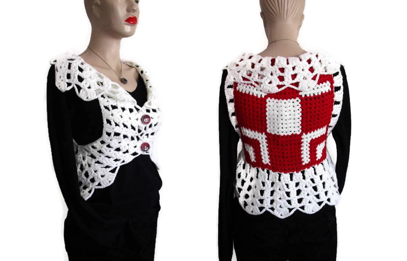 White Crochet Womens Sweater Lace Tank Top Women Lace Etsy