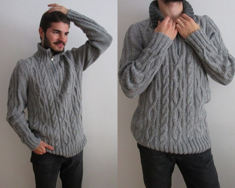 868633426f2bb0 Hand Knitted Grey Pullover Cable Men Sweater Turtleneck