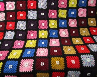 Crochet Blanket Granny Square Afghan Crocheted Afghan Couch Blanket Granny Square Retro Blanket Crcohet Throw, Rainbow Blanket, Lace Blanket