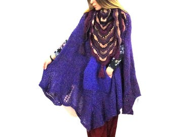 Ponchos, Sweaters, Womens Cape, Mohair sweater, Purple, Oversized sweater, Wool poncho, Knit poncho, Winter poncho, Women ponchos Women gift