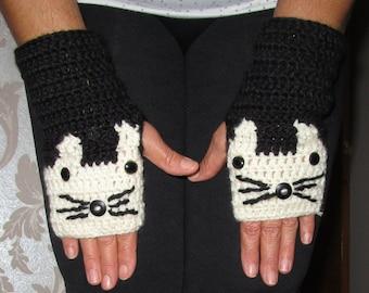 Cat Gloves,Cat Fingerless Gloves,All Sizes,Cat Hand Warmer,Cream Gloves,Xmas Gift Idea,Winter Gift,Gift For Her,Animals,Cat Lovers