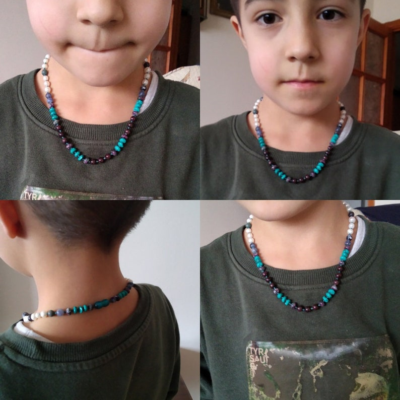 Handmade jewelry made of natural stones Kids Jewelry Gift Natural stone necklace for boys Mens Necklace Natural Stone Energy Mens Necklace