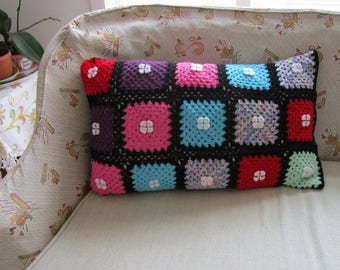 Cottage, Crochet pillow cover, Handmade Pillow Cover, Crocheted square, rectangular, colorful, Zipper, Floral pillow, shabby chic home decor