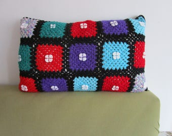 Cottage, Crochet pillow cover, patchwork pillow, Handmade Pillow Cover, rectangular, colorful, Zipper, Floral pillow, shabby chic home decor