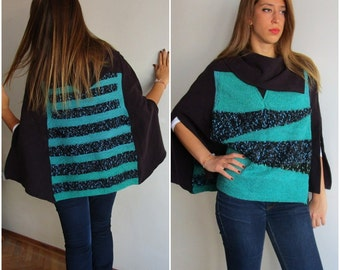 Black Mulberry Green Cape Poncho -   Clothing  Sweater - Bohemian style  knit and fabric poncho,