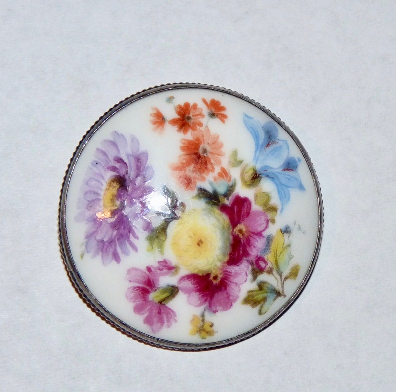 Vintage Round Flower Brooch Made in Czechoslovakia Sterling Clasp
