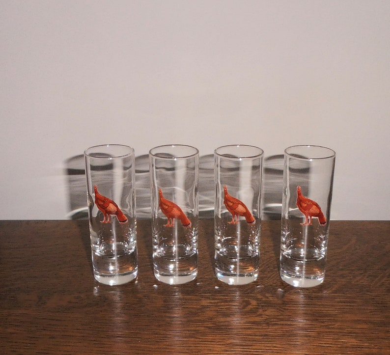 Barware Cordial Liqueur Four Glass Cordials With Wild Turkey Etsy