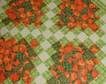 Lap or Throw Quilt Irish Chain Quilt Orange Green Yellow