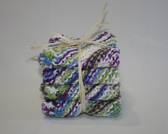 Hand Knit All Cotton Dish Cloth - Wash Cloth - Wipes Set of Four