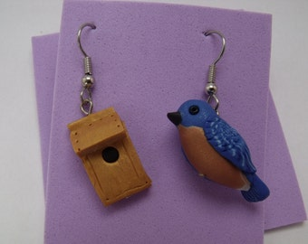 Handmade Polymer Clay Eastern Bluebird Bird and house Earrings