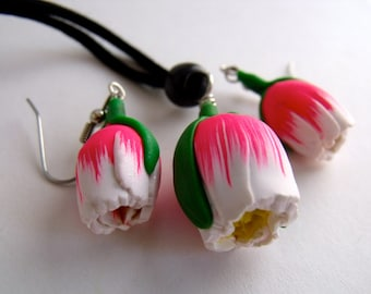 Pink Tulip earrings and Necklace Set