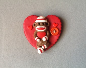 Sock Monkey And Red Heart  Brooch
