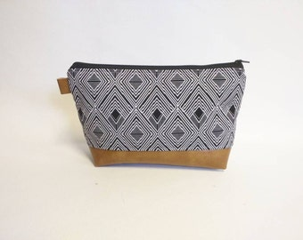 f5ecfdbcb9 Black gray geometric makeup bag with brown faux leather. SeptemberSkye Sold